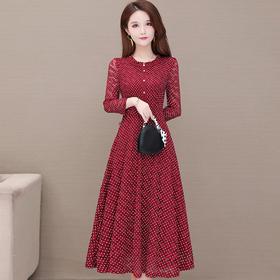 气质减龄,修身长袖波点中长款蕾丝连衣裙YW-KED91287