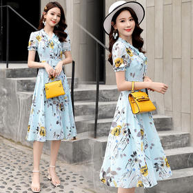 时尚优雅,遮肉显瘦气质雪纺连衣裙CQ-XBL825