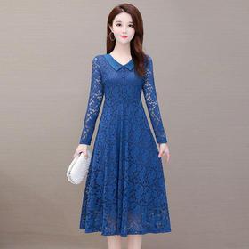 修身气质,中长款娃娃领蕾丝连衣裙YW-JHL-C03