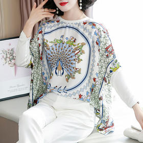 HT030新款时尚优雅气质宽松定位花丝巾款蝙蝠袖上衣TZF