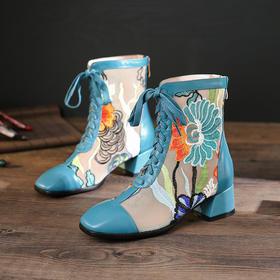 XYSM-3067-5新款时尚百搭真皮拼接蕾丝网纱方头低跟粗跟镂空鞋TZF