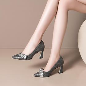 OLD-H2177新款时尚气质尖头浅口珍珠高跟鞋TZF