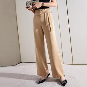 宽松休闲,高腰设计感绑带直筒裤SG-AL600009