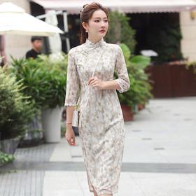【秋白】优雅修身,改良雪纺印花中长款旗袍XGT-Q2349