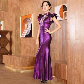 DLQ-A2591新款时尚名媛气质修身显瘦立领刺绣礼服裙TZF