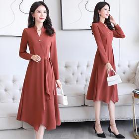 纯色简约,长袖不规则V领连衣裙HR-JXYR8936