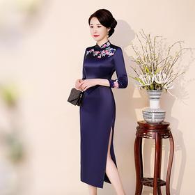复古高端纯色,刺绣长袖旗袍QQ-9758