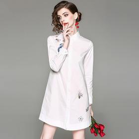 PDD-MLNZ200807新款时尚气质纯棉绣花中长款长袖衬衣TZF