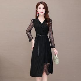 优雅修身,条纹蕾丝拼接中长气质显瘦连衣裙YW-XH-QMW20B01