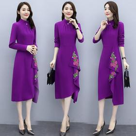时尚优雅,气质简约刺绣连衣裙CQ-OKYZ6850