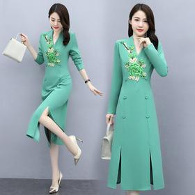 HRFS-WO68519新款时尚复古文艺款连衣裙TZF