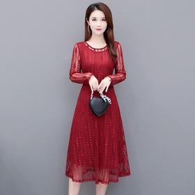 QYM-LFDS-SC20B05新款时尚气质修身显瘦圆领短袖蕾丝连衣裙TZF