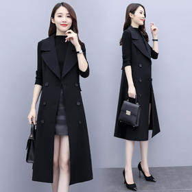 HRFS-WQ208069新款时尚优雅气质修身双排扣风衣外套TZF