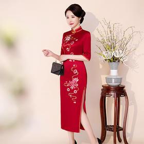 复古高端纯色,刺绣红色长款旗袍QQ-9755