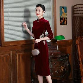 复古韩国丝绒,绣花改良旗袍TY-Z-031