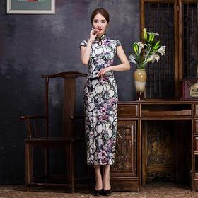 复古修身,滴水领韩国绒旗袍裙BJ-81627
