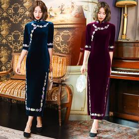 TX19161新款优雅气质修身立领中袖丝绒钉珠刺绣长款旗袍TZF