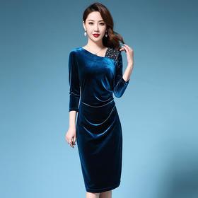 SL-Q5356新款时尚优雅气质修身显瘦金丝绒重工钉珠礼服裙TZF