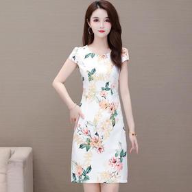 气质优雅,修身短袖时尚打底印花连衣裙YW-JMYS20C11