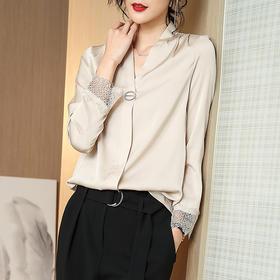 CSFS-2-A660新款潮流时尚气质宽松V领长袖桑蚕丝衬衫TZF