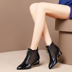 性感网纱电镀跟,真皮网纱凉靴BY-NY-N88