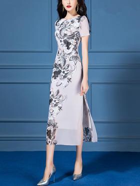HT-N-C01-711新款优雅气质收腰显瘦圆领短袖印花连衣裙TZF