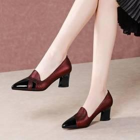 真皮尖头粗跟,中口拼色单鞋BY-DP-895