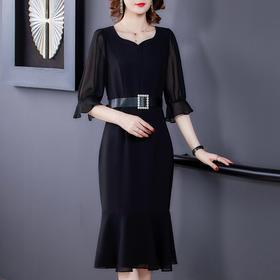 AHM-lyom9117新款时尚优雅气质收腰V领七分袖纯色连衣裙TZF