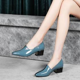 真皮粗跟尖头,百搭时尚单鞋BY-XYM-k78-1