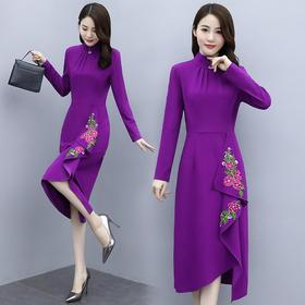 HRFS-WO68509新款时尚优雅气质修身高领绣花不规则连衣裙TZF