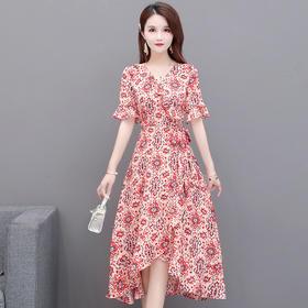 修身气质,减龄V领时尚短袖雪纺印花连衣裙YW-KED93271