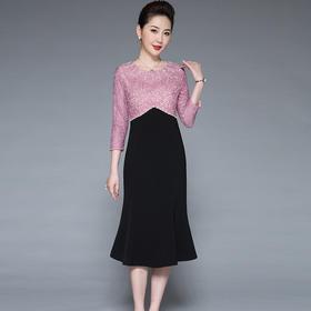SL-Q5396新款时尚优雅气质拼接网纱钉珠连衣裙TZF