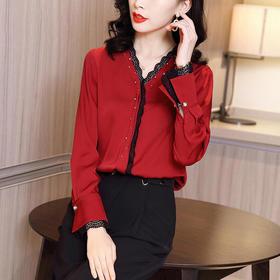 HT-N-B01-5952新款时尚气质V领长袖拼接蕾丝衬衫TZF