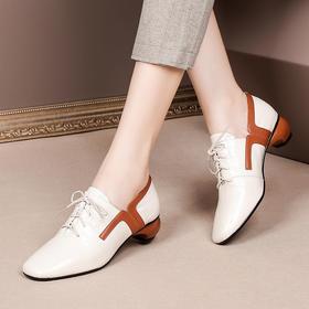 OLD-k105-3新款潮流时尚气质方头拼色中跟粗跟皮鞋TZF