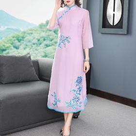 复古中国风,七分袖刺绣中式改良版连衣裙YFN-2055