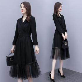 HRFS-WQ208079新款时尚优雅气质收腰V领长袖网纱拼接连衣裙TZF