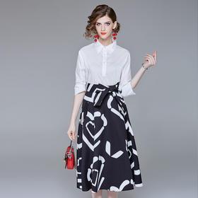 BHS2566181948新款优雅气质职业百搭衬衫高腰系带印花半身裙两件套TZF
