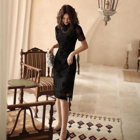 PDD-SXYG200808新款中国风优雅气质修身改良立领短袖旗袍裙TZF