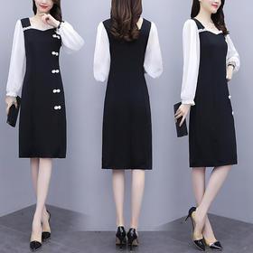 HT-FL-4F003-1633新款时尚优雅气质修身显瘦雪纺拼接连衣裙TZF