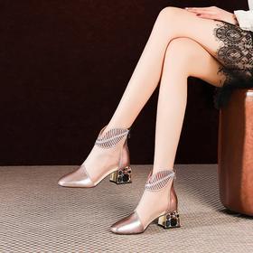 网纱中跟短靴,网面真皮凉靴OLD-JZX101-95