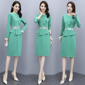 CQ-OKYZ6859新款时尚优雅气质修身显瘦圆领长袖拼接连衣裙TZF