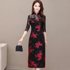 YWE-JMYS20C802新款优雅气质修身立领中袖印花中长款旗袍裙TZF
