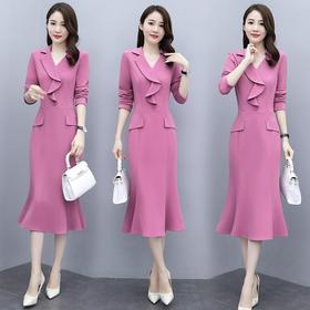 CQ-OKYZ6858新款时尚优雅气质修身显瘦V领长袖拼接连衣裙TZF
