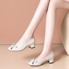 真皮百搭,时尚粗跟低跟单鞋OLD-J857-12