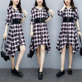 YHSS319748新款时尚气质高腰拼接格子连衣裙TZF