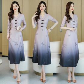 气质V领,时尚优雅复古修身盘口连衣裙CQ-HRYZ6978