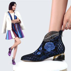 YNX-K4050新款中国风时尚气质真皮绣花水钻粗跟短靴TZF