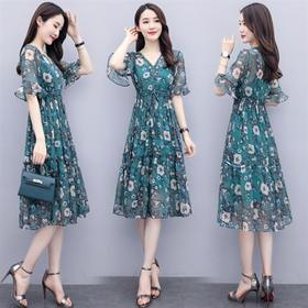 时尚优雅,性感V领气质印花连衣裙两件套HR-MYYS8829