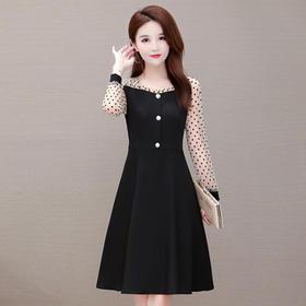 时尚气质,修身大码长袖减龄波点连衣裙YW-XH-WY20B01