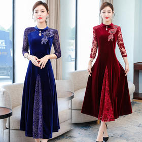 XFFS9044新款时尚优雅气质圆领长袖丝绒中长款连衣裙TZF